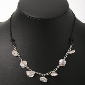 anthrazit, perlen, beads, kette, Geschenk, einreihig, Perlen, eleganter Schmuck, jewelerys, Leder, Perlmutt, Muschelschmuck