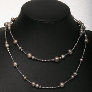 anthrazit, perlen, beads, kette, mehrreihig