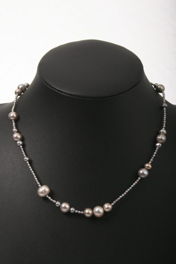 anthrazit, perlen, beads, kette, Geschenk, einreihig, Perlen, eleganter Schmuck, jewelerys
